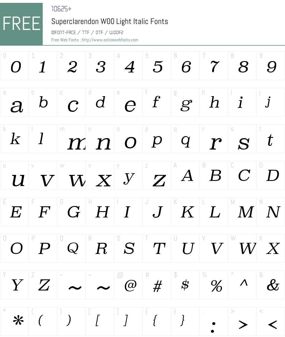 SuperclarendonW00-LightIt Font Screenshots