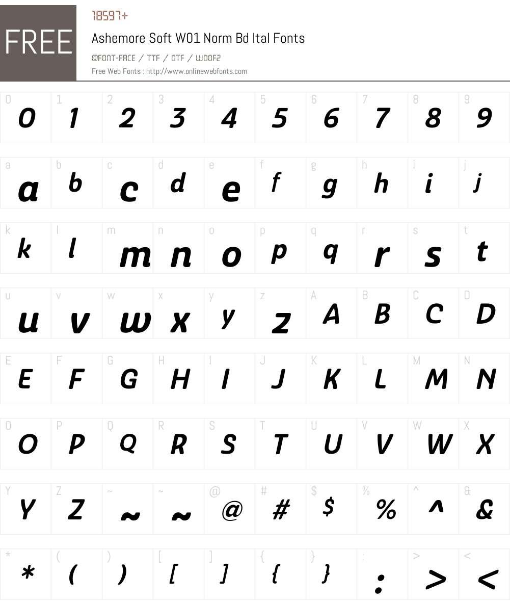 AshemoreSoftW01-NormBdItal Font Screenshots