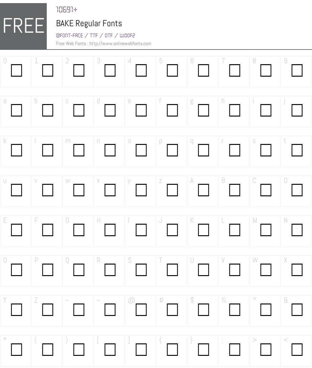 BAKE Font Screenshots