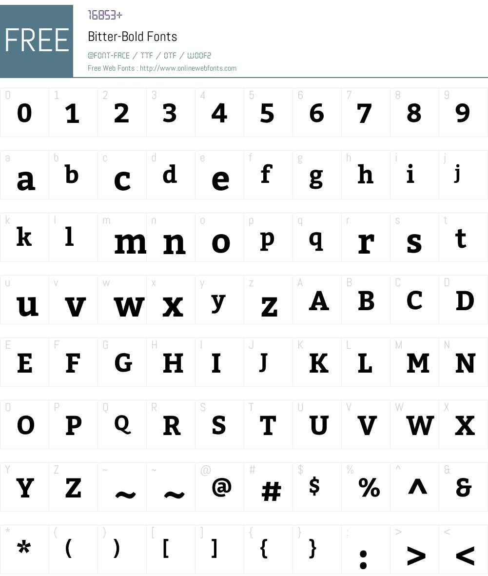 Bitter Font Screenshots