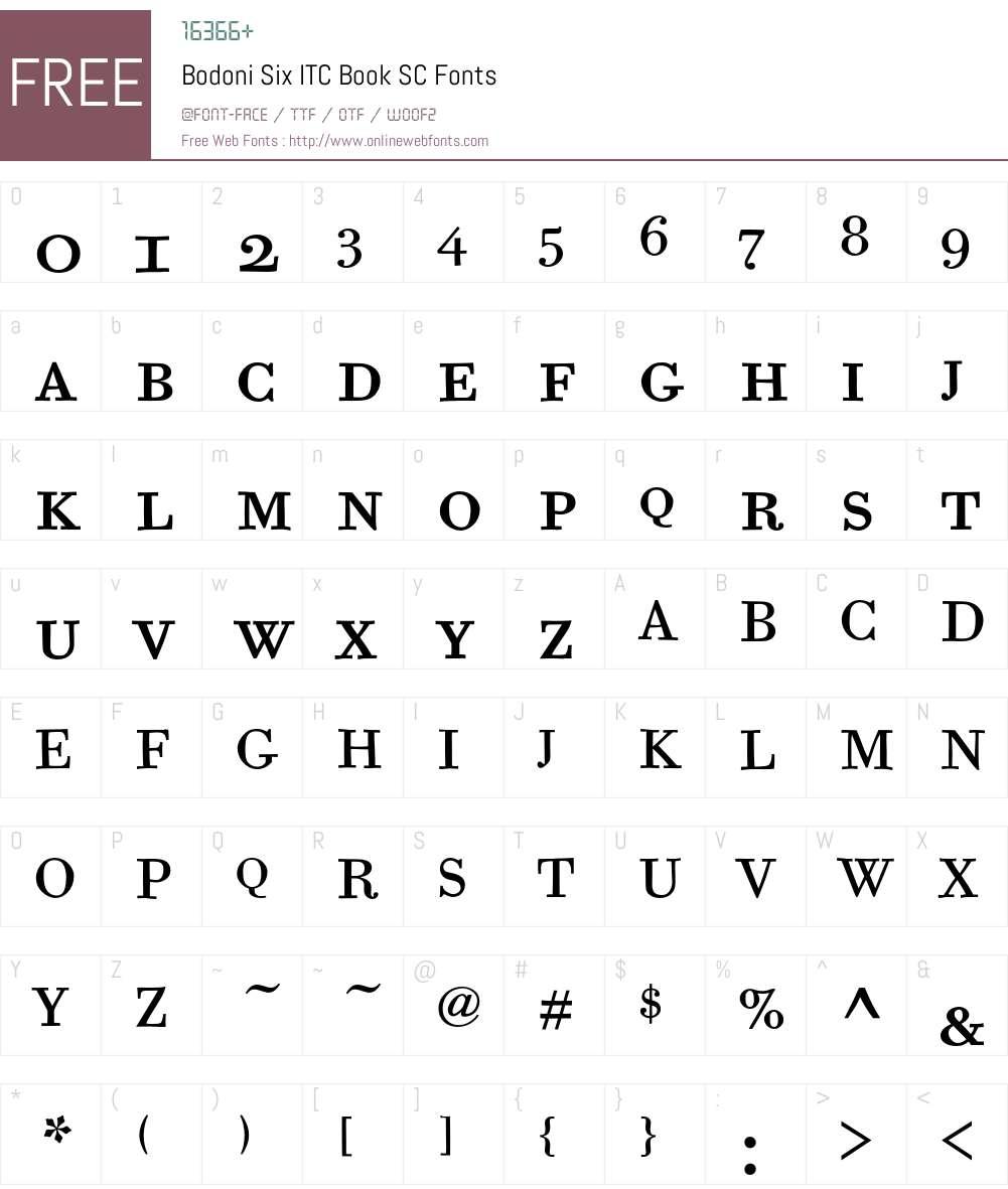 Bodoni Six ITC Font Screenshots