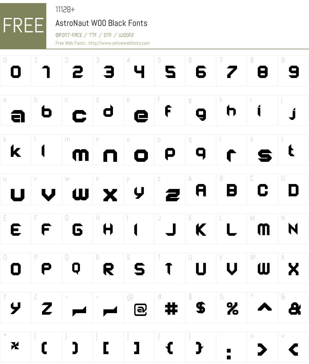 AstroNautW00-Black Font Screenshots
