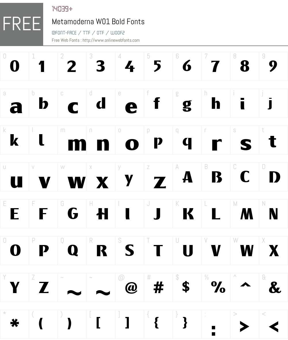 MetamodernaW01-Bold Font Screenshots