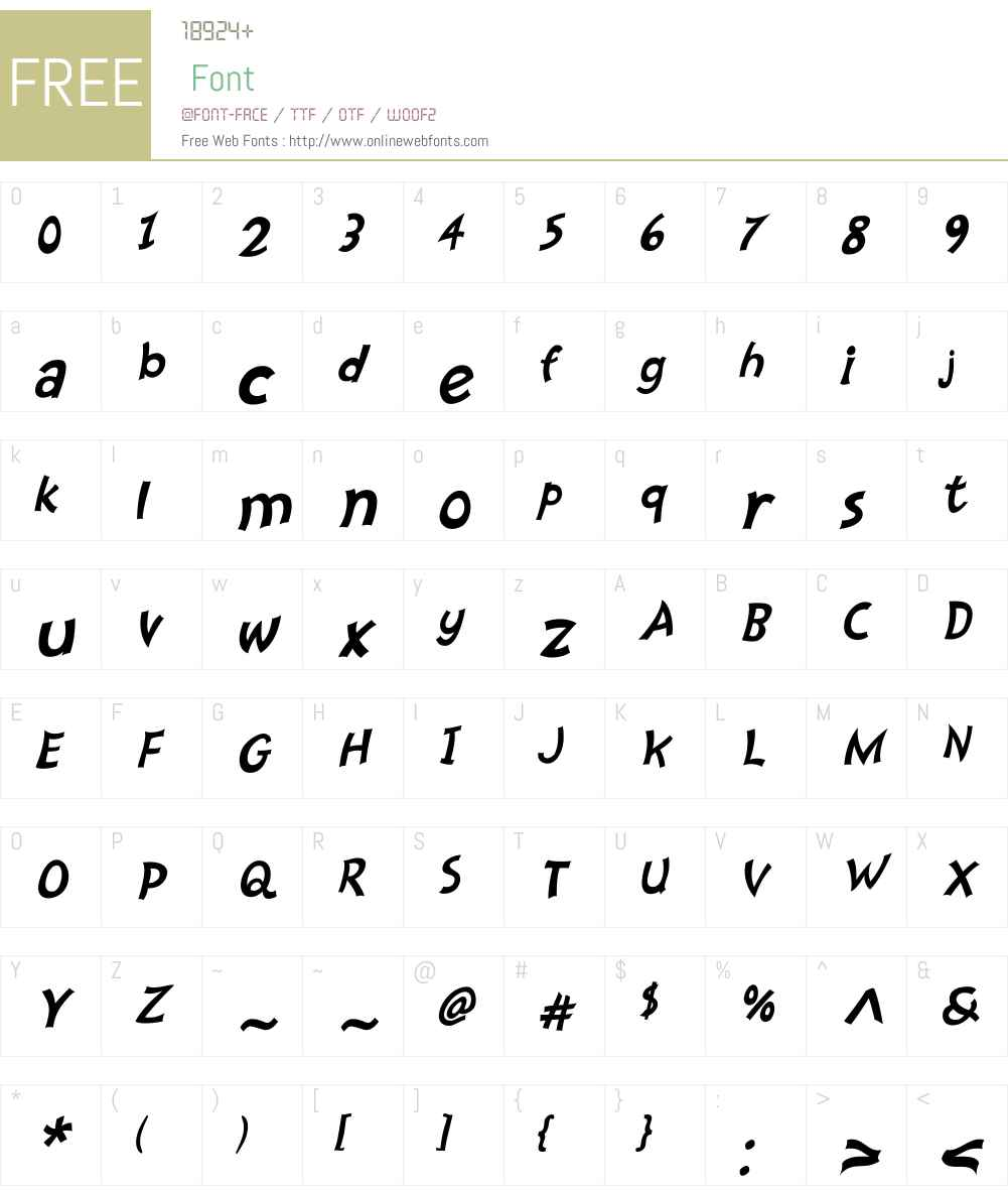 Nanumunga Oblique Font Screenshots