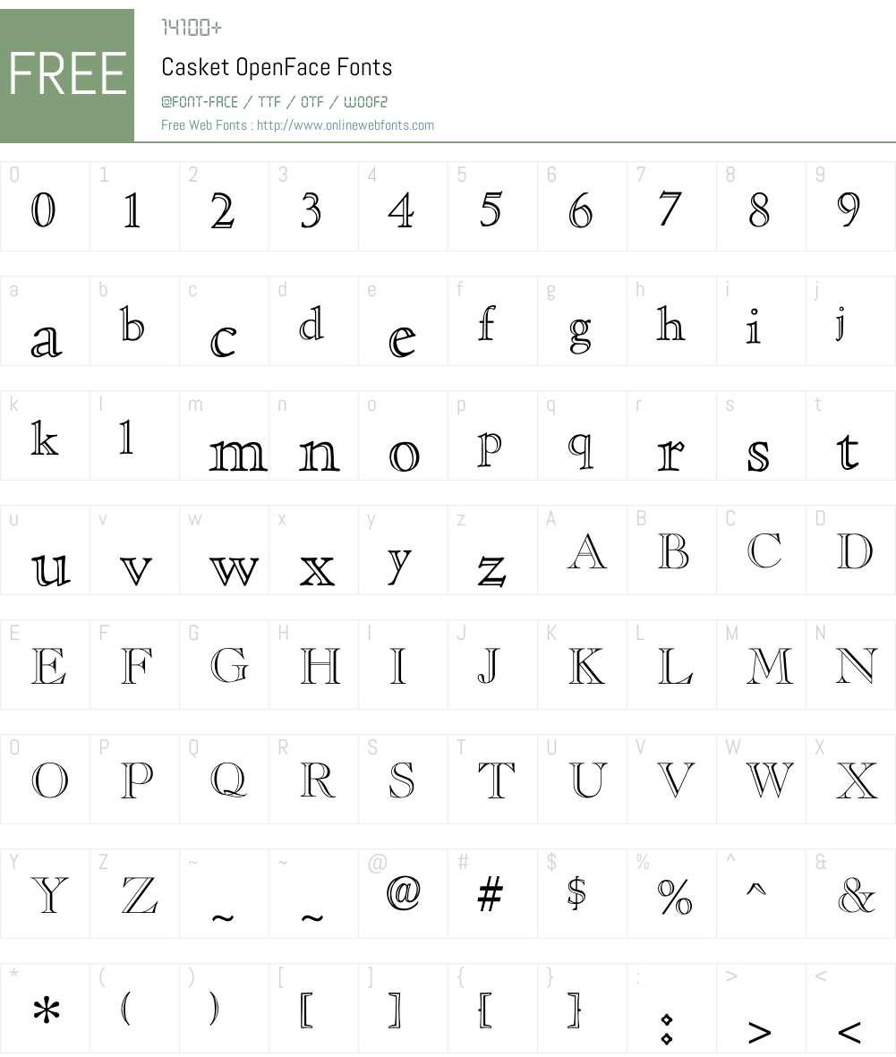 Casket OpenFace Font Screenshots