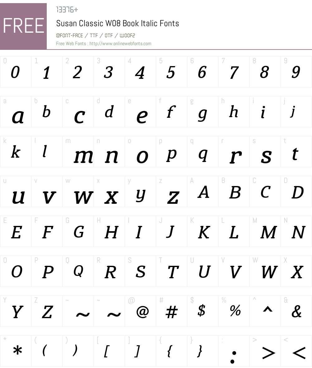 Susan Classic Font Screenshots