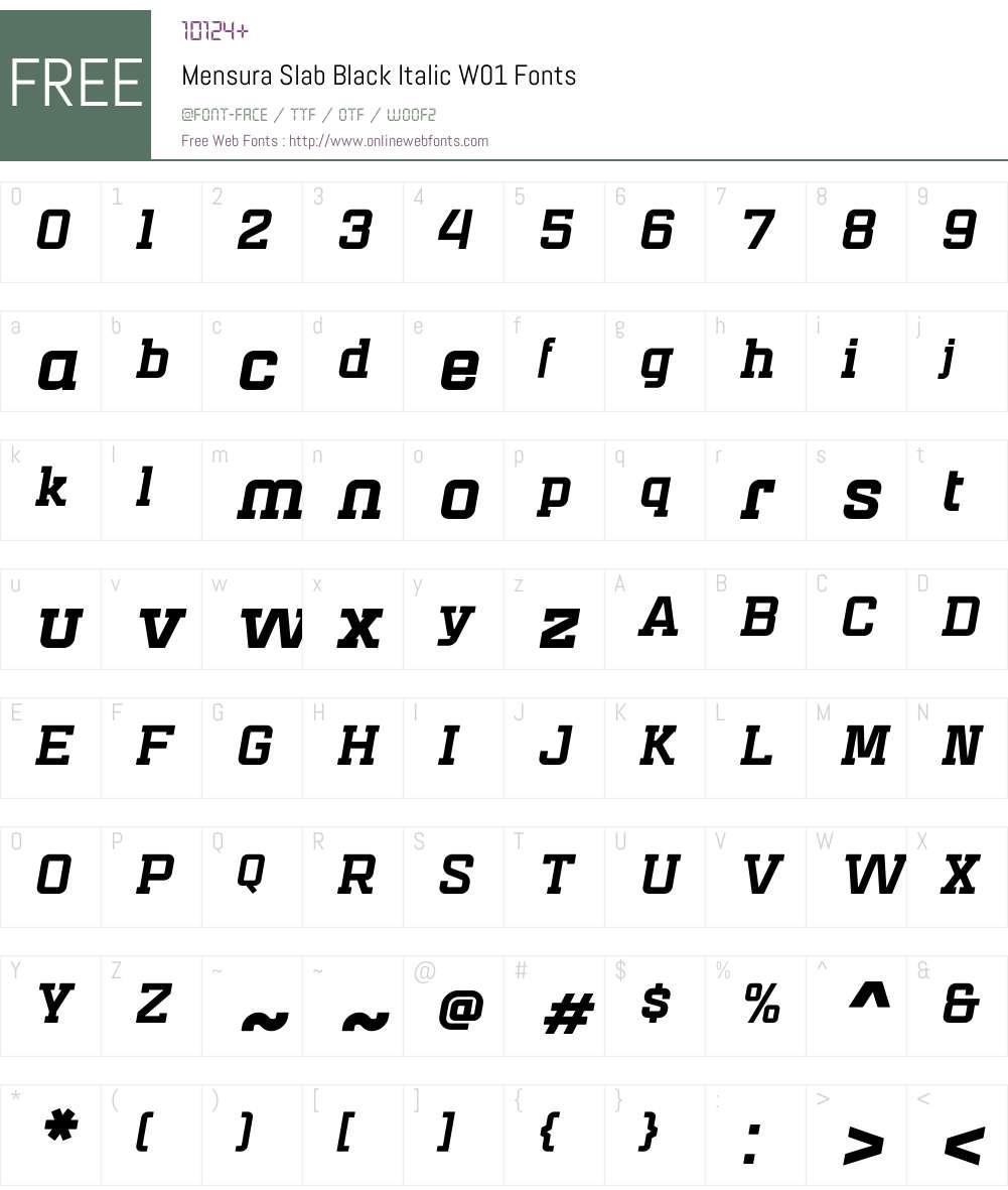 MensuraSlabBlackItalicW01 Font Screenshots