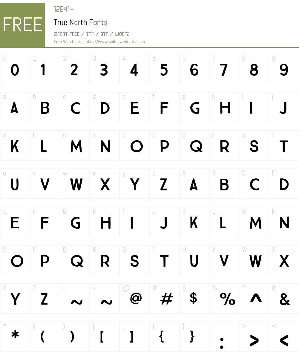 TrueNorth-Regular Font Screenshots