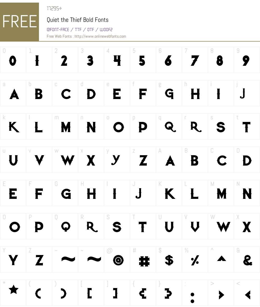 Quiet the Thief Font Screenshots