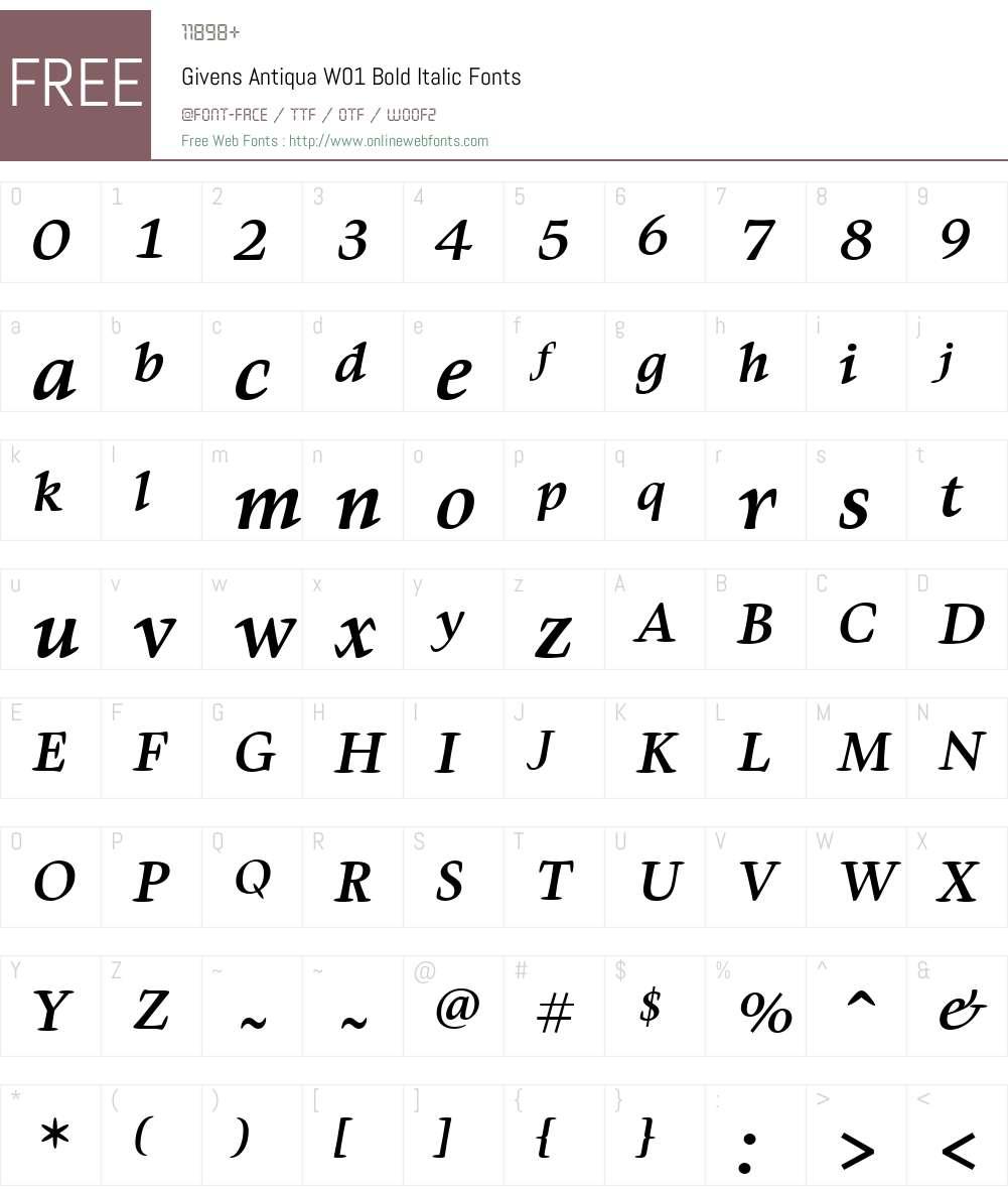 GivensAntiquaW01-BoldItalic Font Screenshots