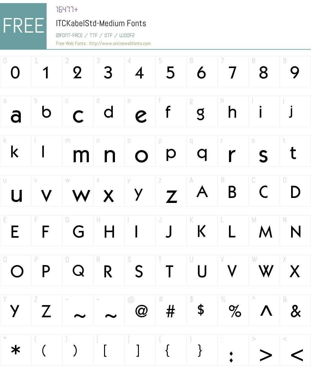 ITC Kabel Std Medium Font Screenshots