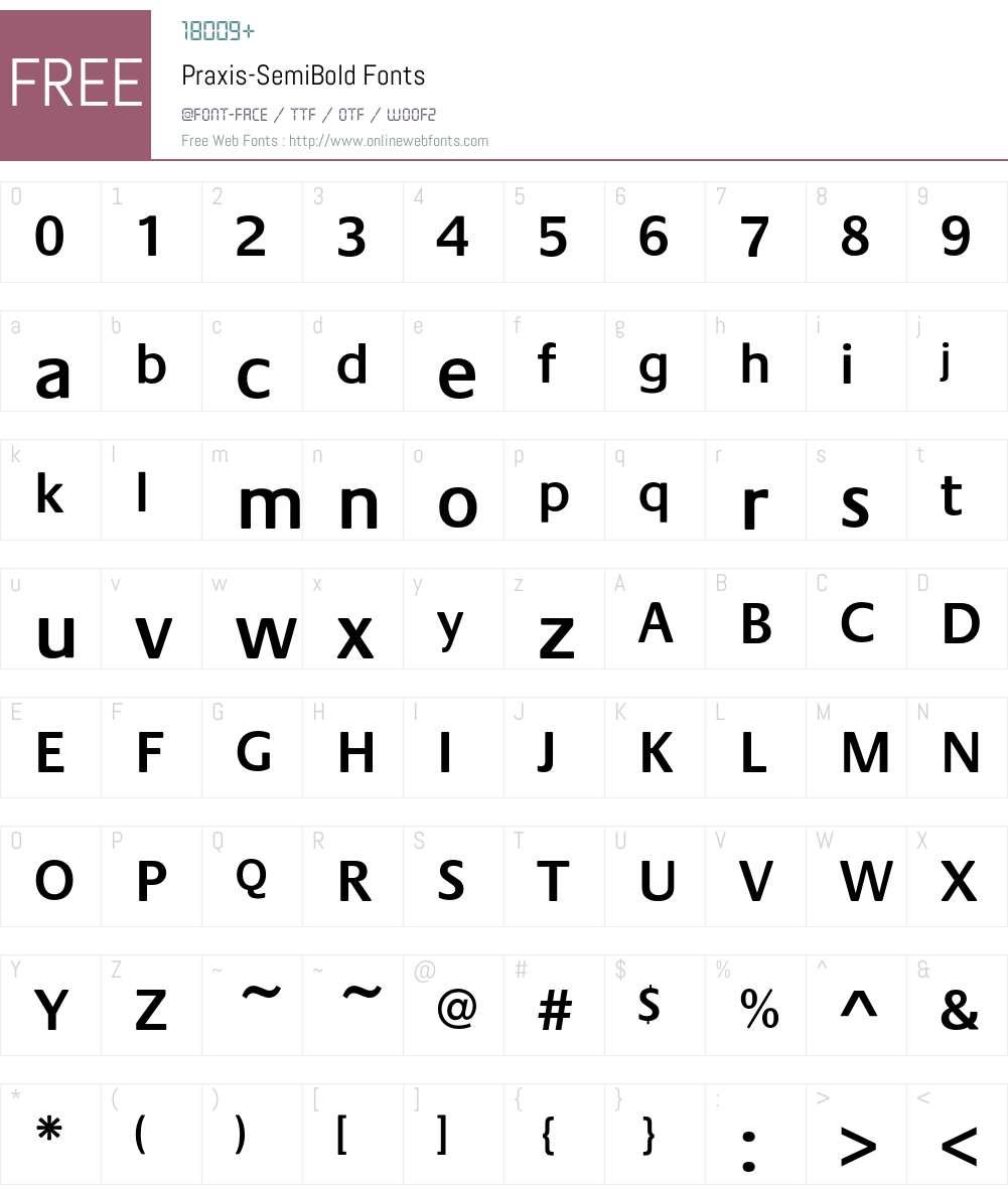 Praxis-SemiBold Font Screenshots