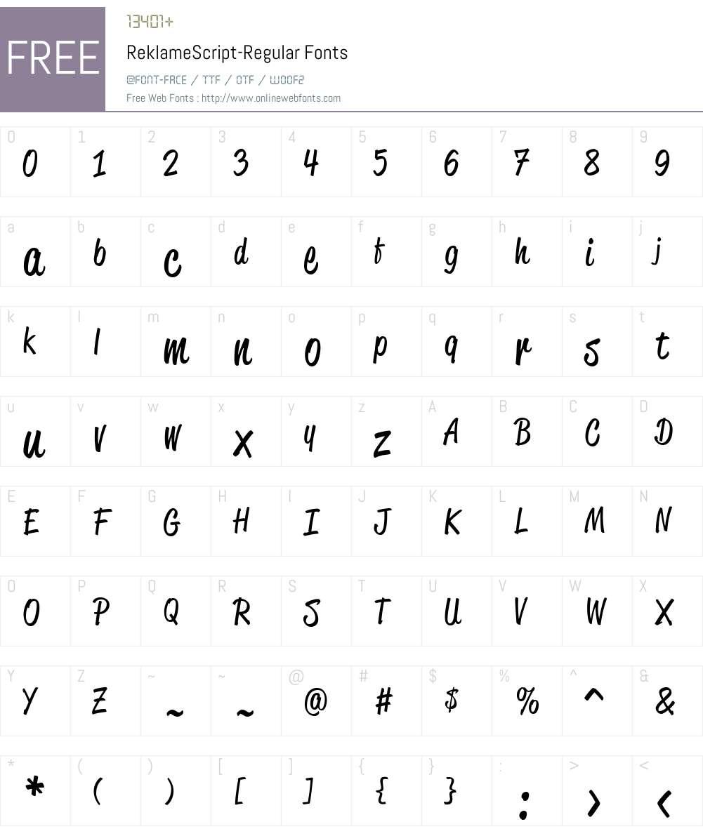 ReklameScript-Regular Font Screenshots