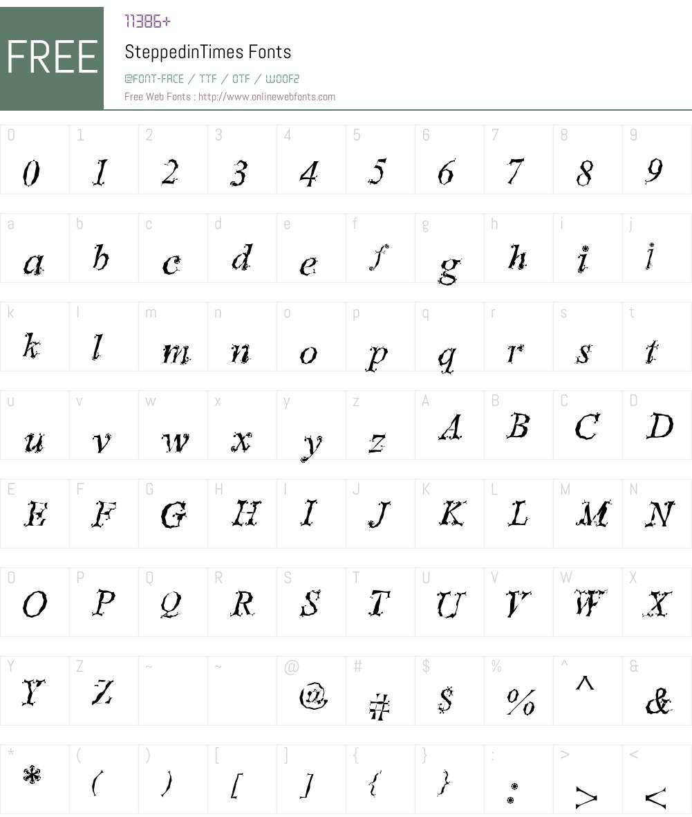 SteppedinTimes Font Screenshots