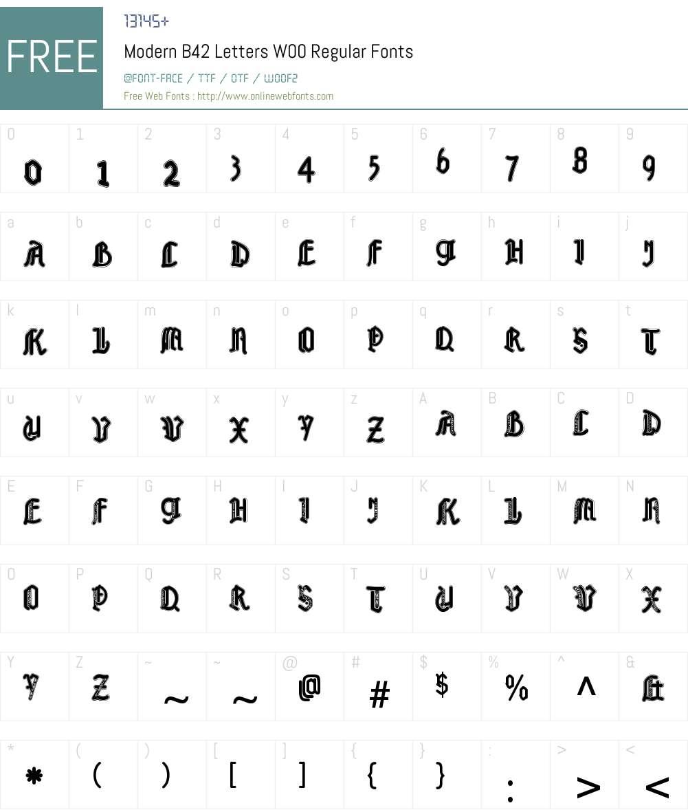 ModernB42LettersW00-Regular Font Screenshots