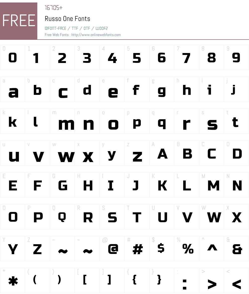 Russo One Font Screenshots