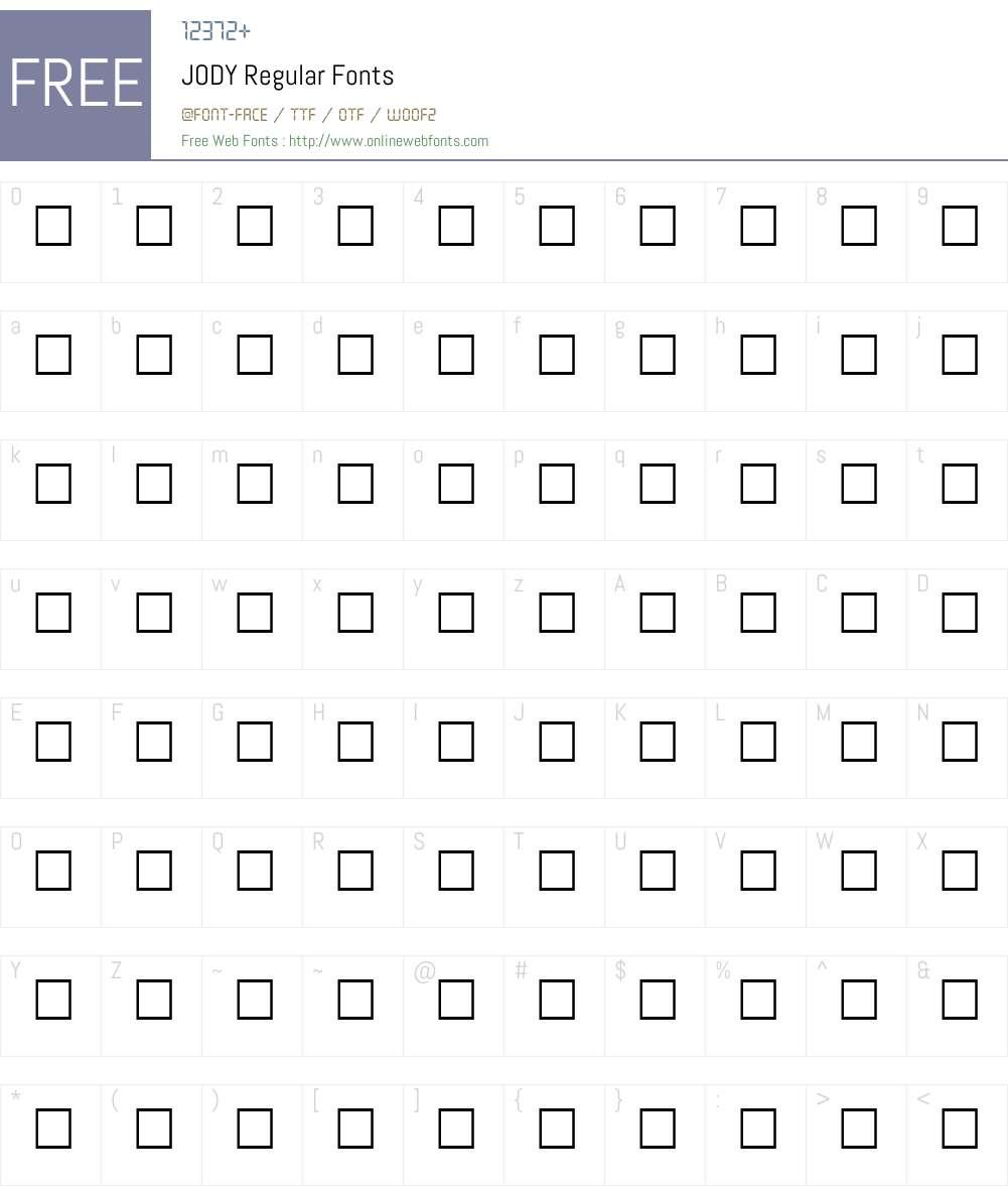 JODY Font Screenshots