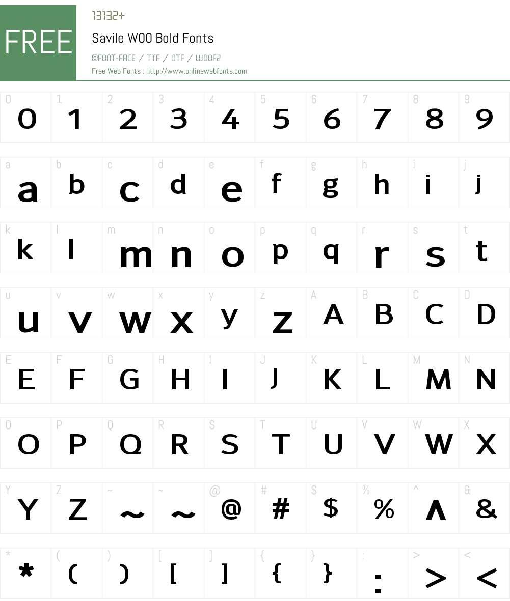 SavileW00-Bold Font Screenshots