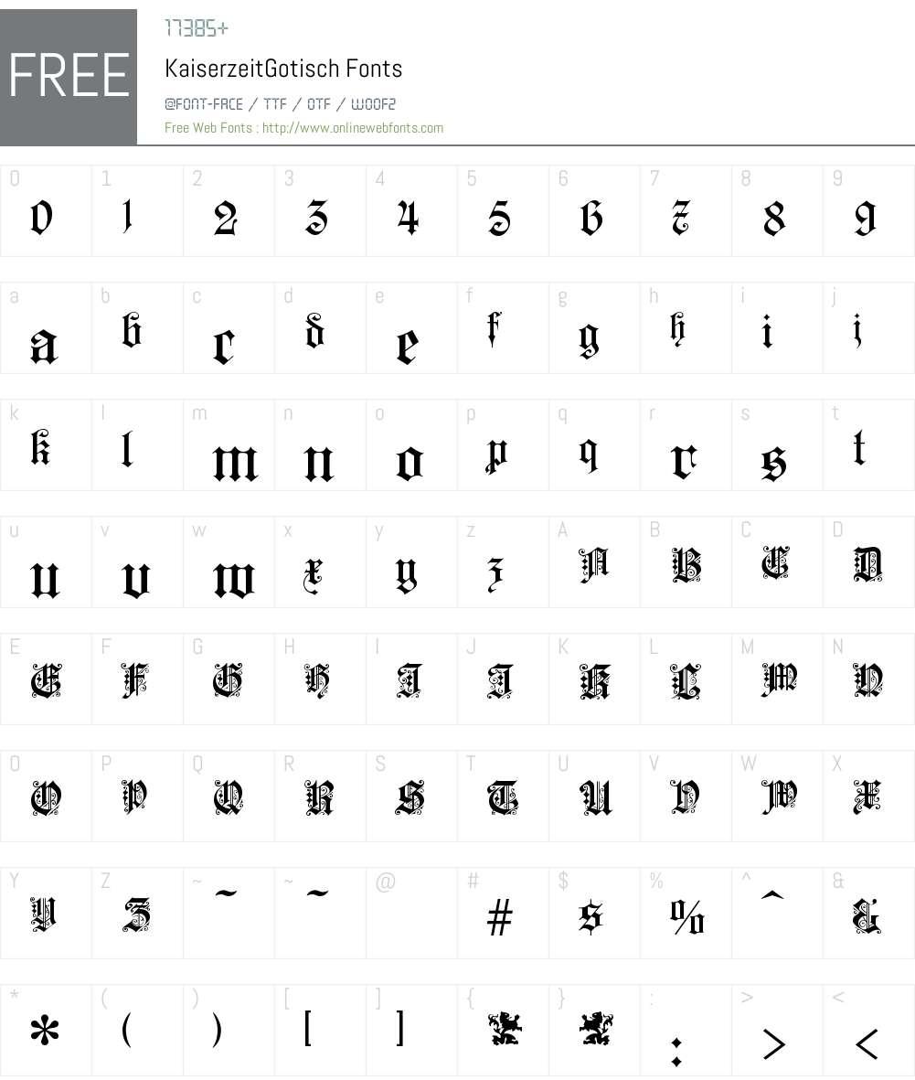 KaiserzeitGotisch Font Screenshots