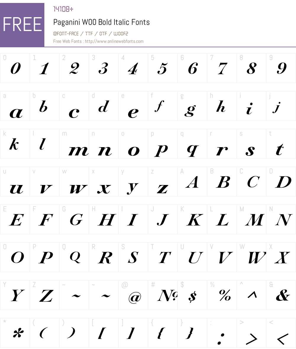 PaganiniW00-BoldItalic Font Screenshots
