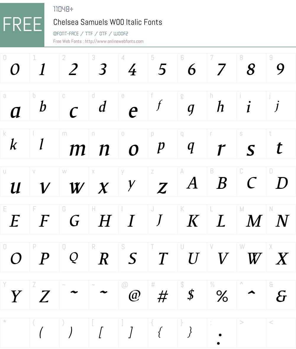ChelseaSamuelsW00-Italic Font Screenshots