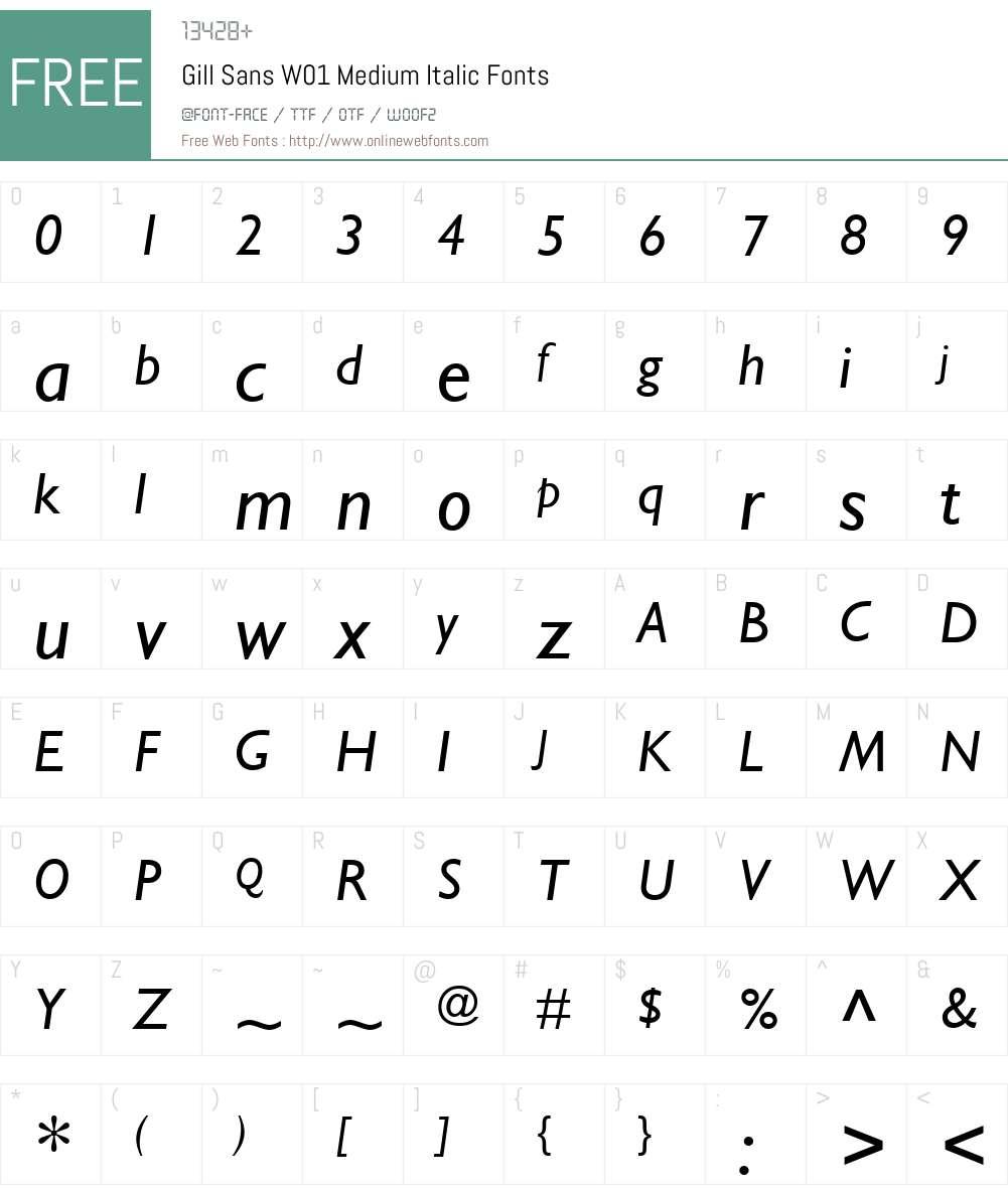 GillSansW01-MediumItalic Font Screenshots