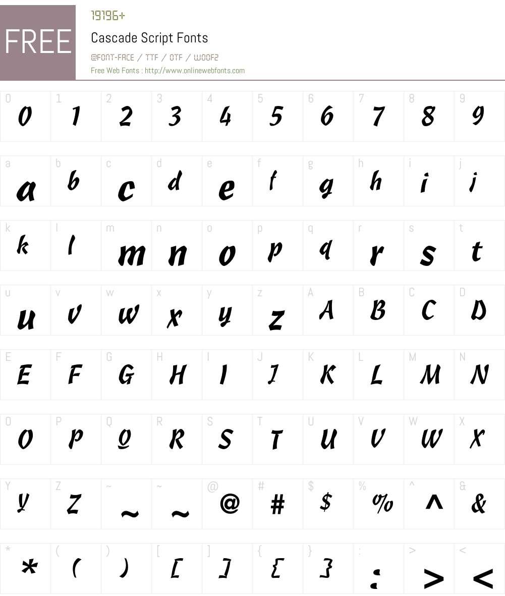 Cascade Script Font Screenshots
