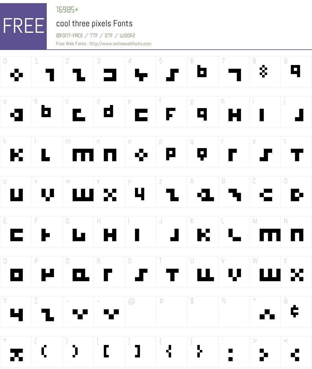 cool three pixels Font Screenshots