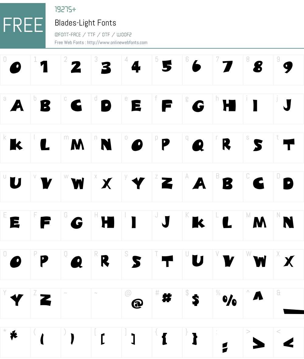 Blades-Light Font Screenshots