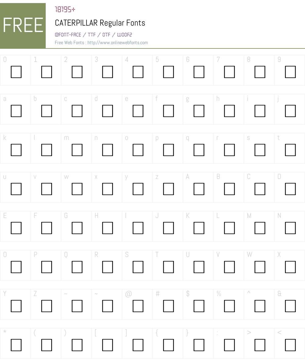 CATERPILLAR Font Screenshots