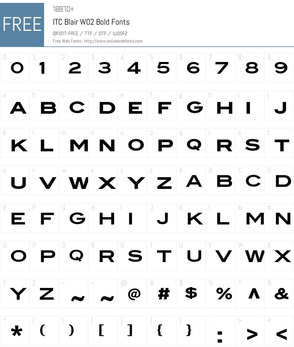 ITC Blair Font Screenshots