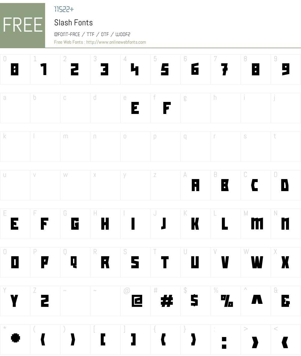 Slash Font Screenshots
