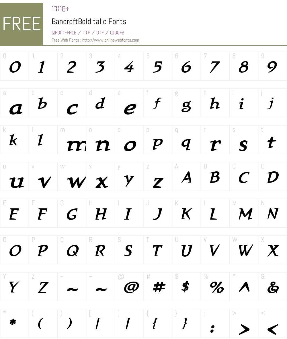 BancroftW01-BdIt Font Screenshots