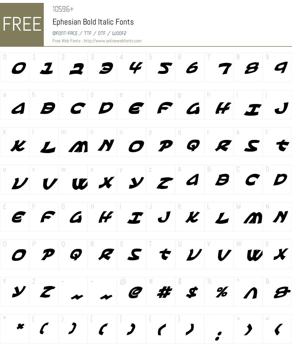 Ephesian Bold Italic Font Screenshots