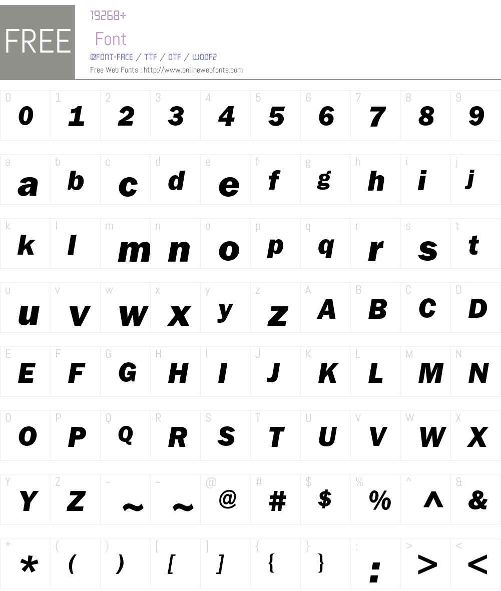 Franklin ITC BQ Font Screenshots