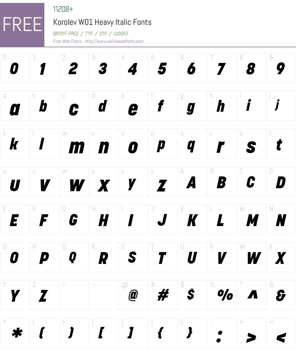 KorolevW01-HeavyItalic Font Screenshots