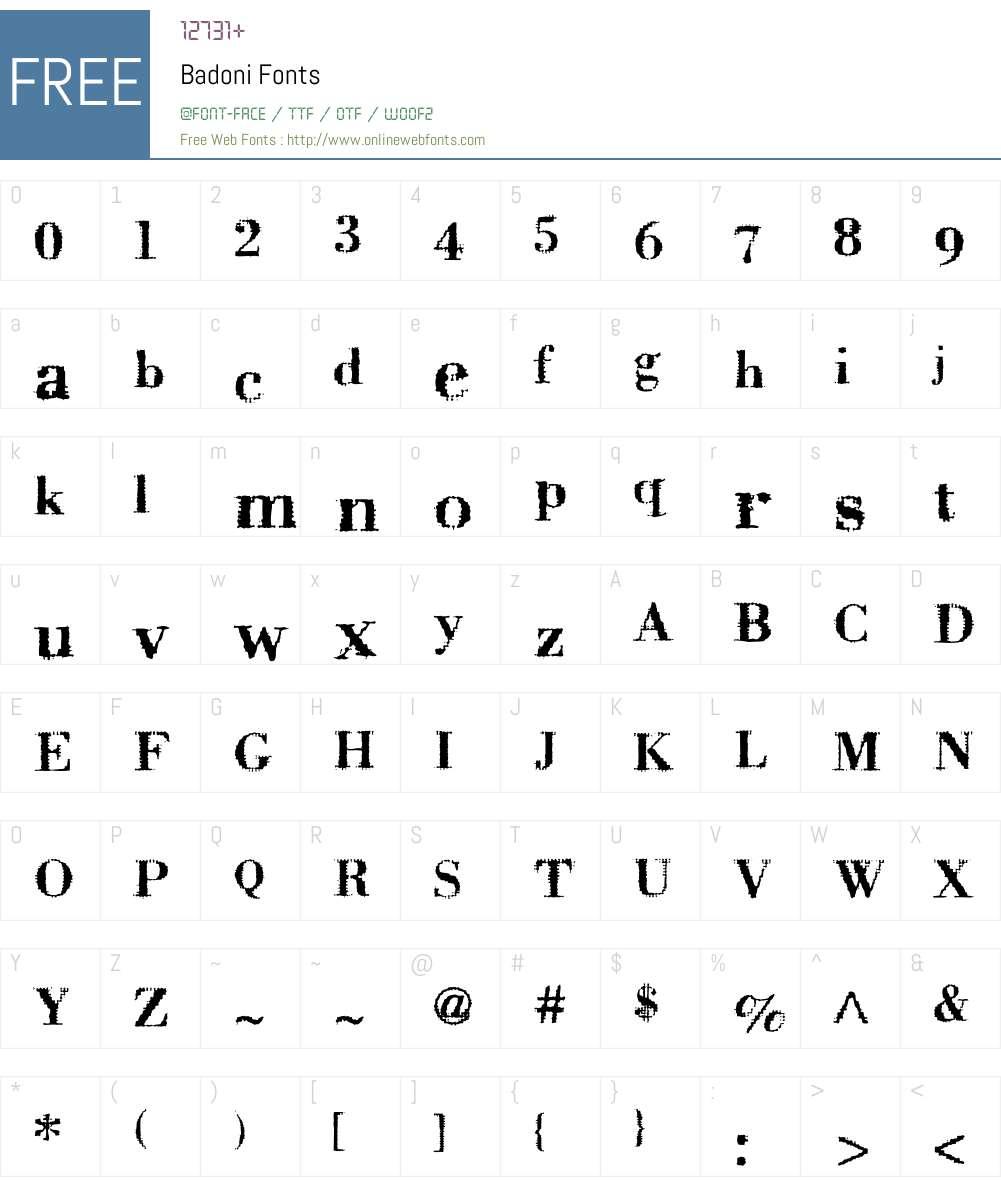 Badoni Font Screenshots