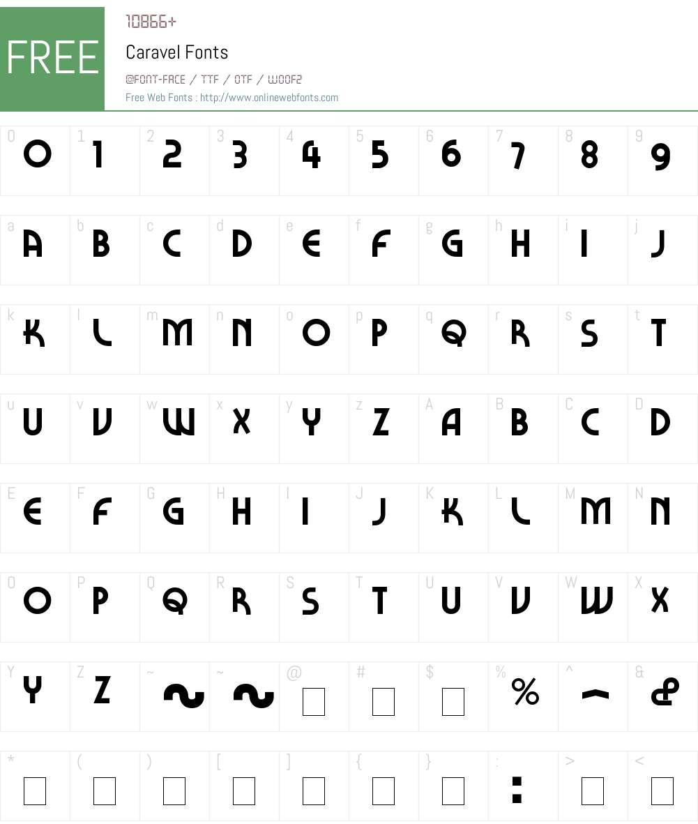 Caravel Font Screenshots