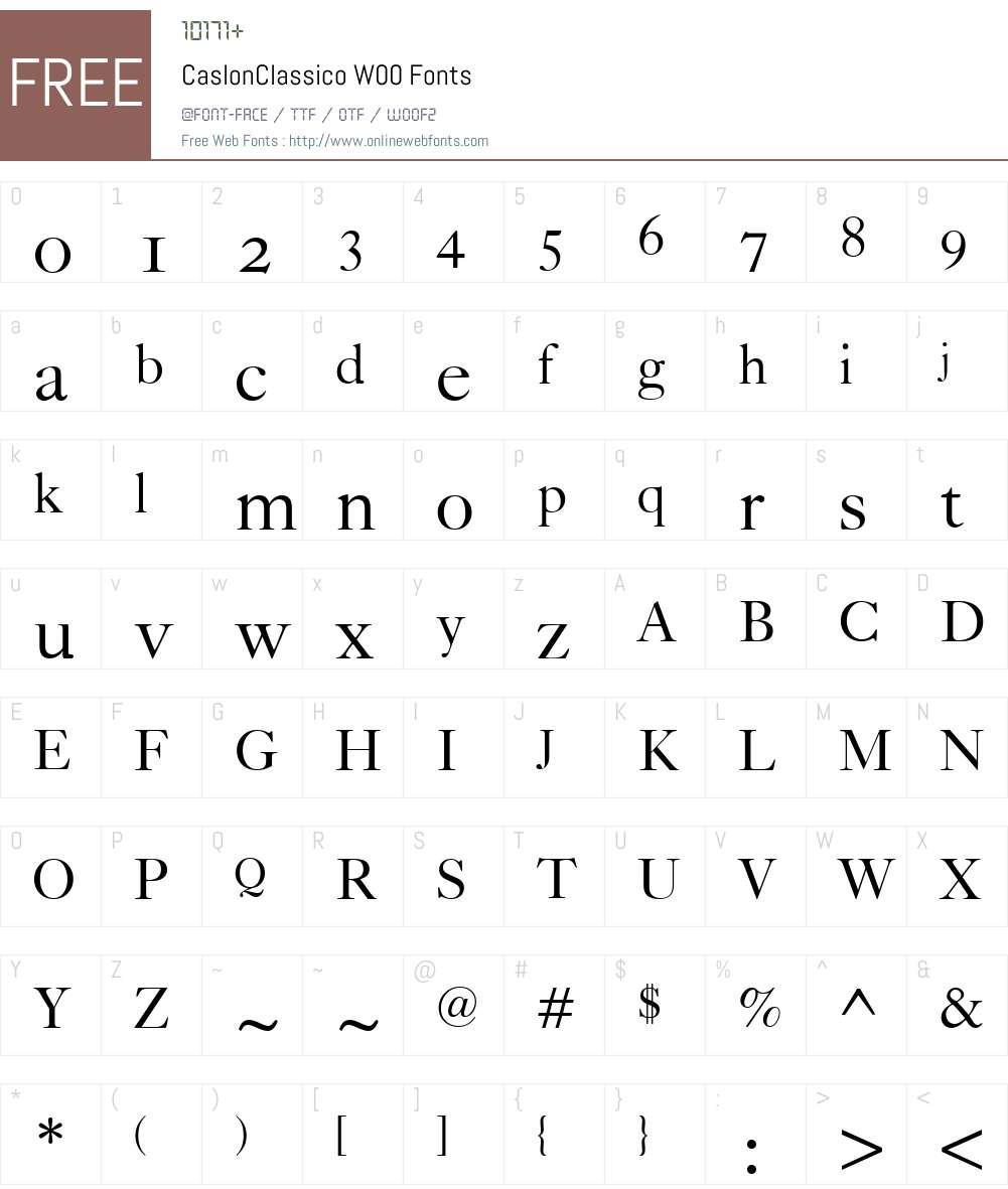 CaslonClassicoW00 Font Screenshots