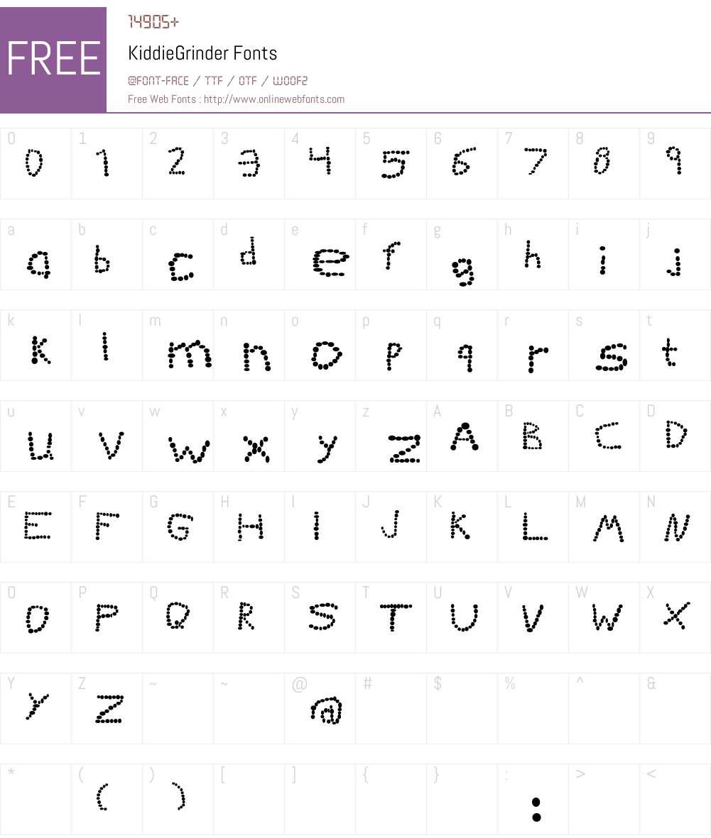 KiddieGrinder Font Screenshots