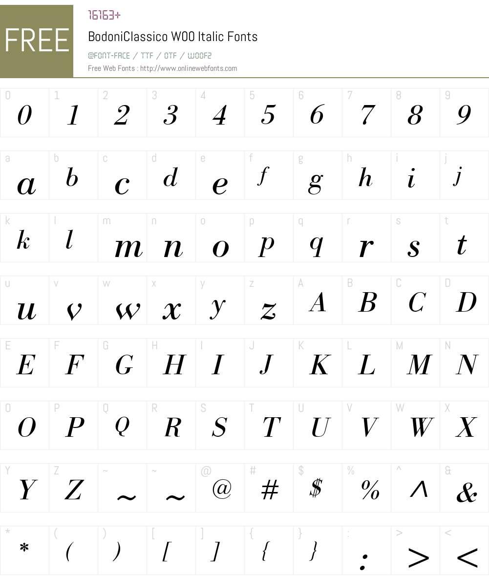 BodoniClassicoW00-Italic Font Screenshots