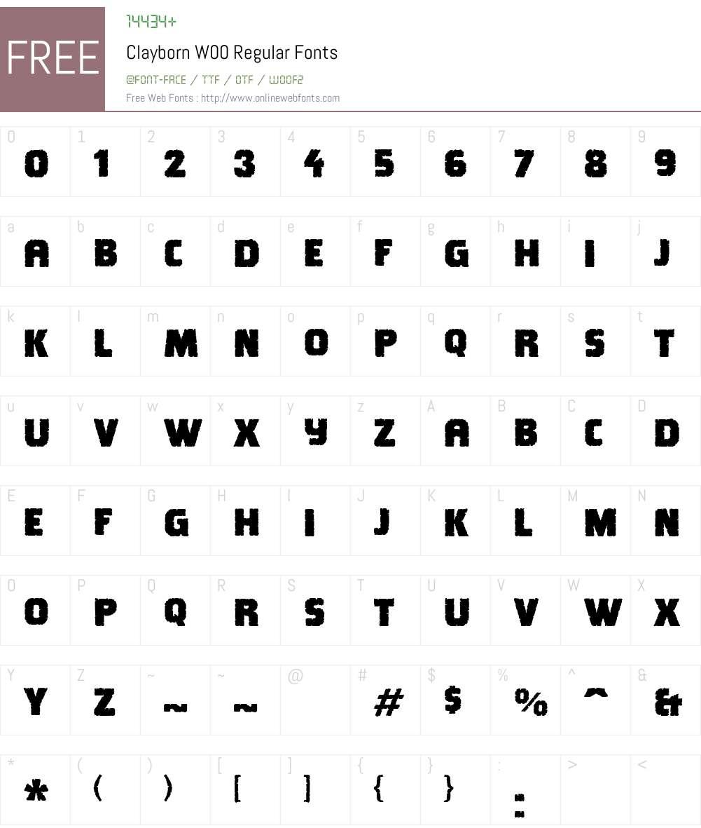 ClaybornW00-Regular Font Screenshots