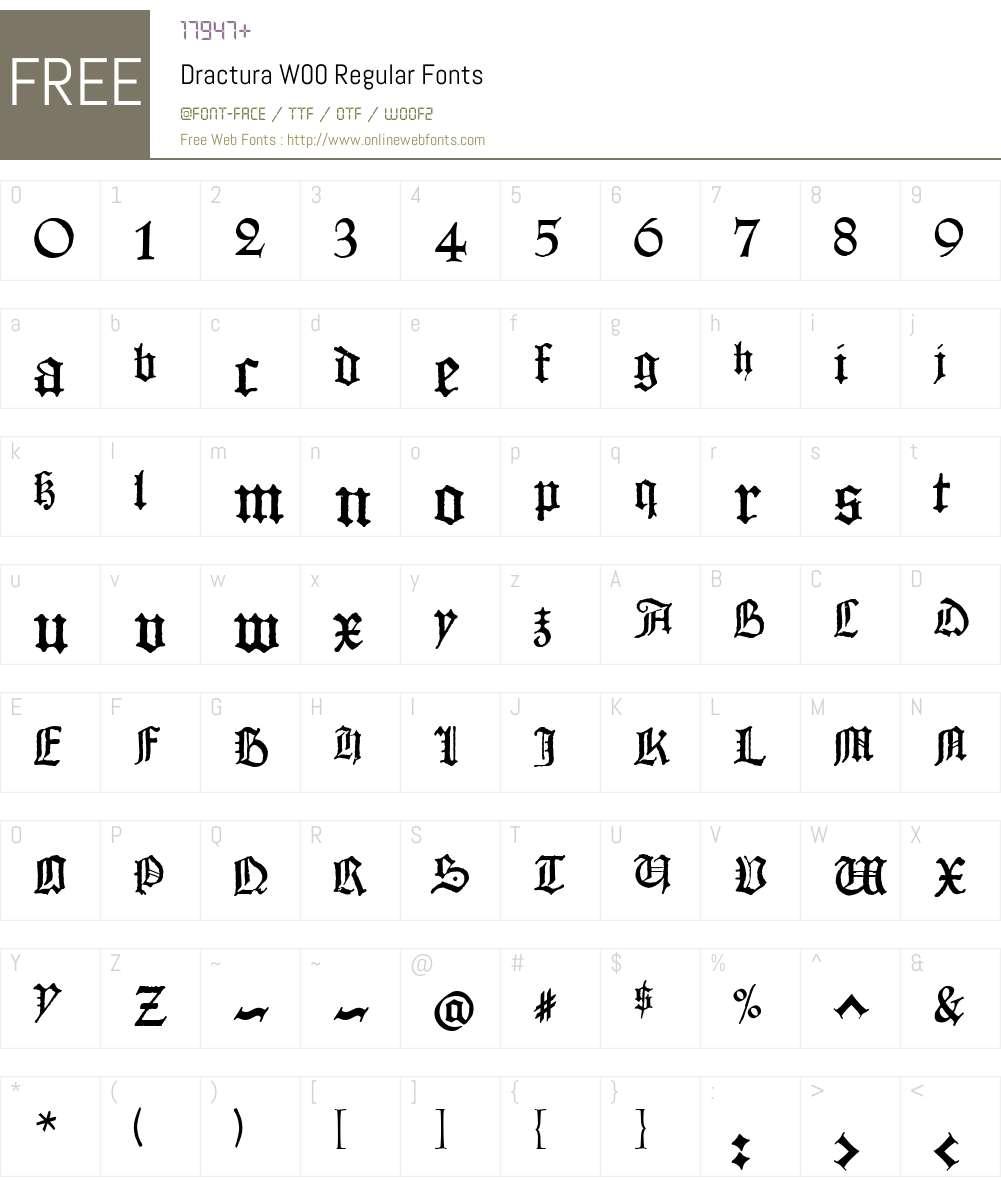 DracturaW00-Regular Font Screenshots
