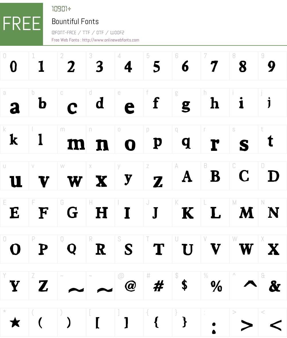 Bountiful Font Screenshots
