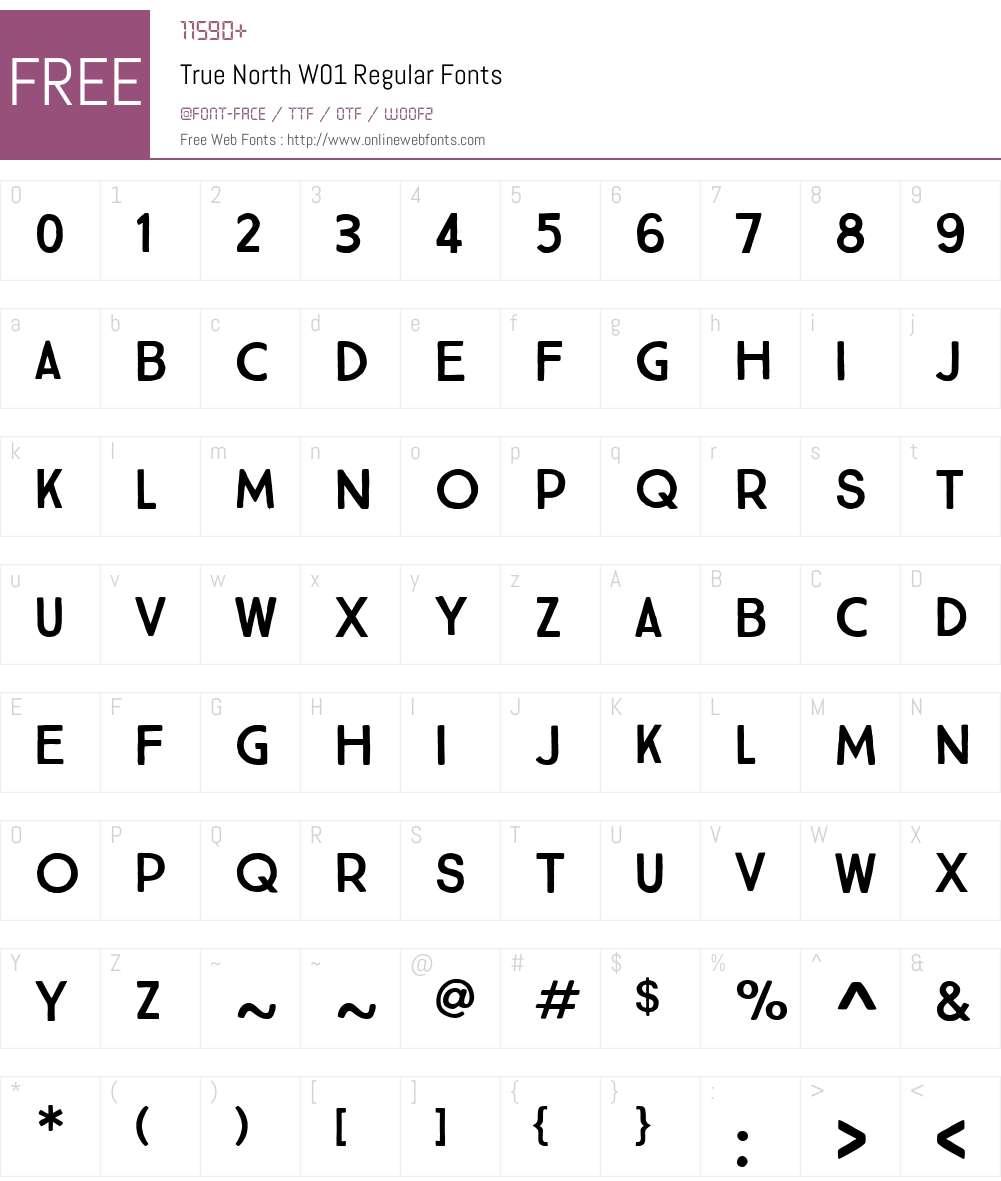 TrueNorthW01-Regular Font Screenshots