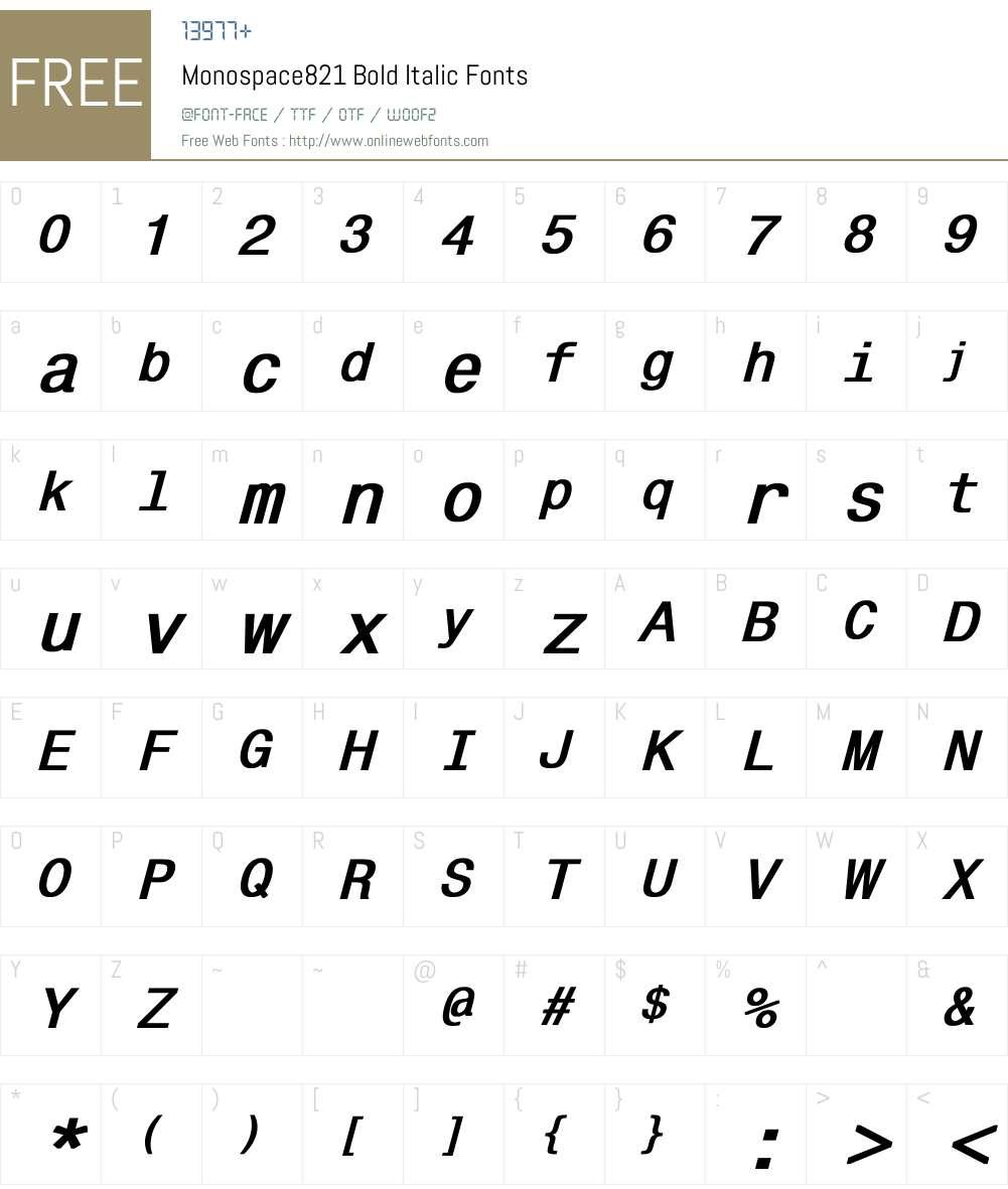 Monospace821 Font Screenshots