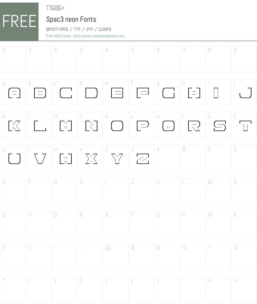 Spac3 neon Font Screenshots