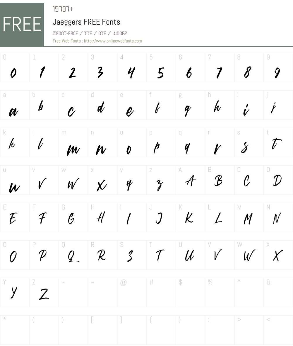 Jaeggers FREE Font Screenshots