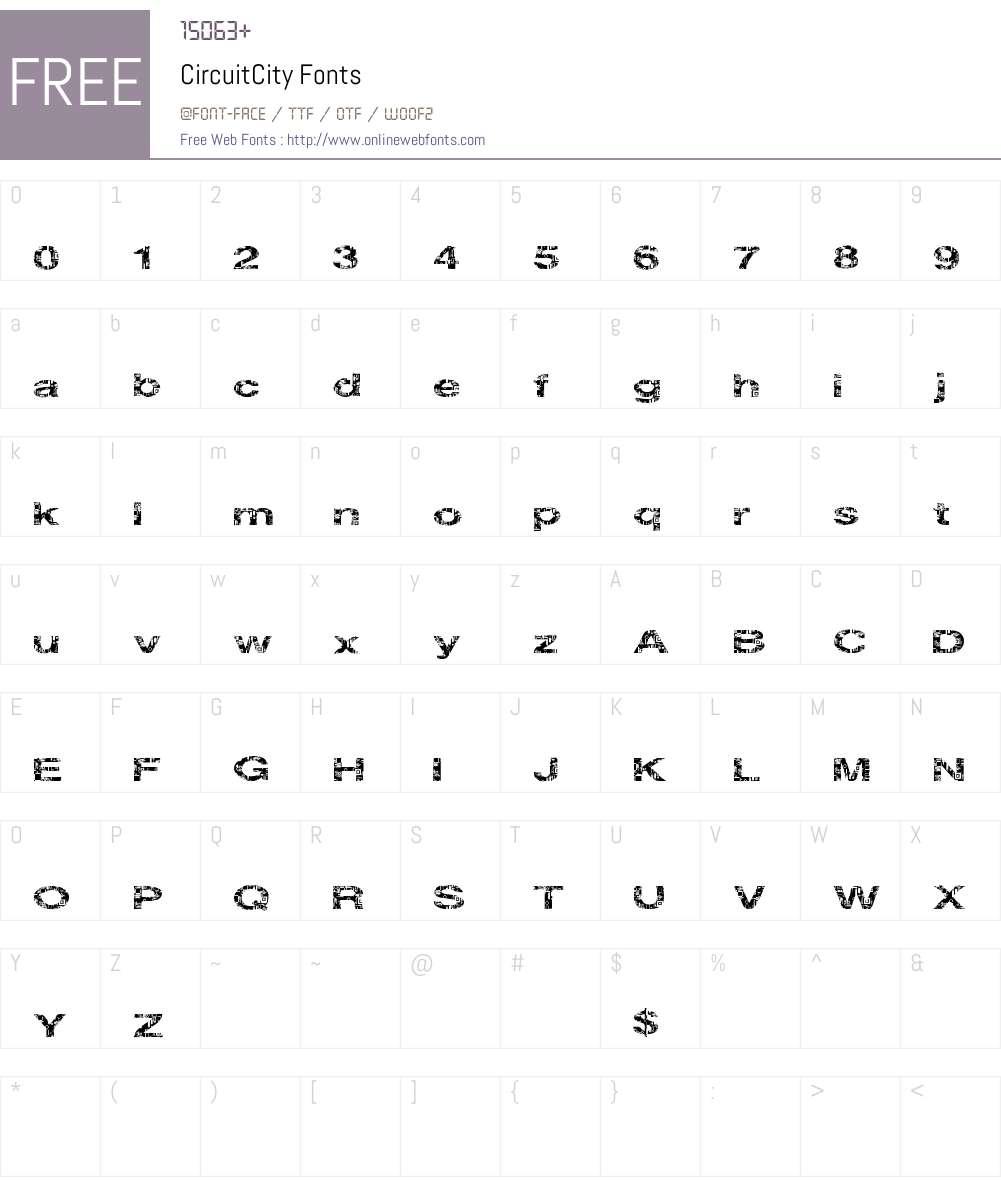 CircuitCity Font Screenshots