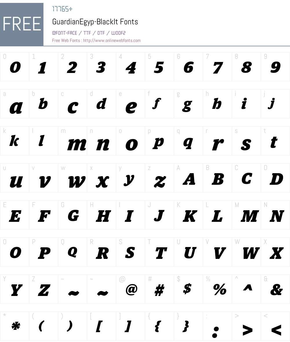 Guardian Egyp Black Font Screenshots